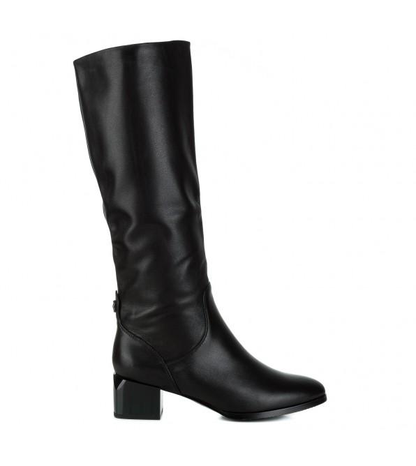 Чоботи жіночі шкіряні чорні на товстому каблуку Berkonty