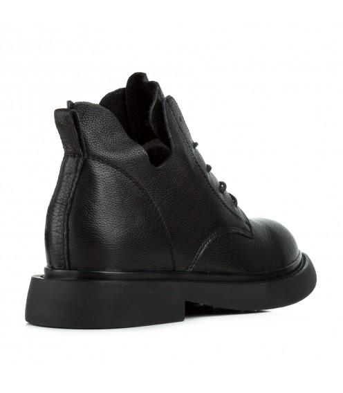 Черевики жіночі шкіряні чорні на низькому каблуку Berkonty
