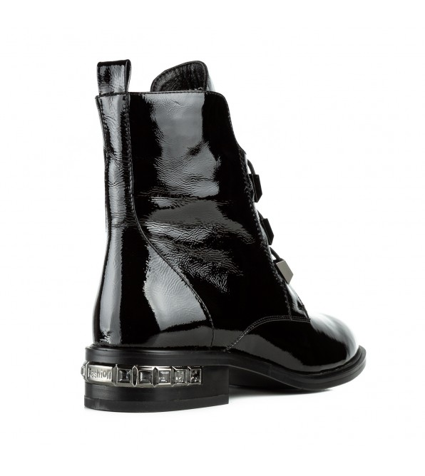 Черевики жіночі лакові чорні на низькому каблуку Bacyni
