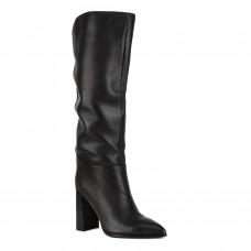 Сапоги женские кожаные черные на высоком каблуке