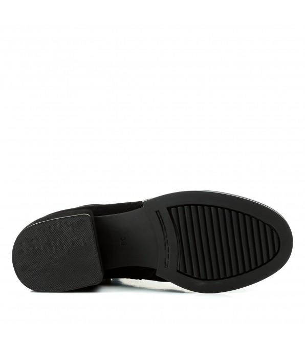 Ботильйони жіночі замшеві чорні на квадратному каблуку Kamani