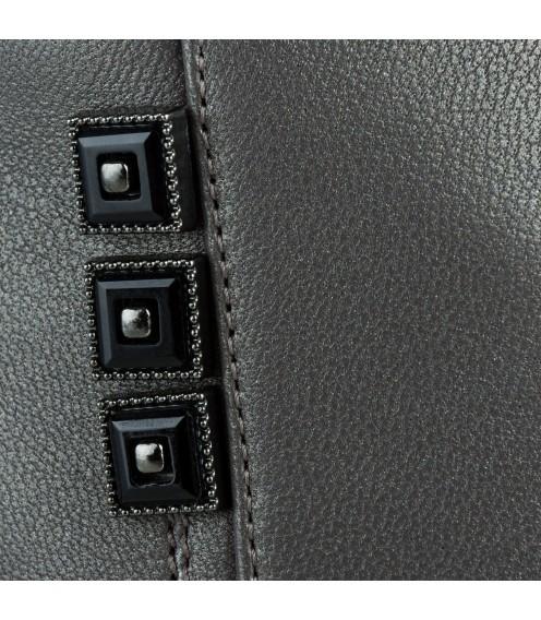 Ботильйони жіночі шкіряні сірі на товстому каблуку Kamani