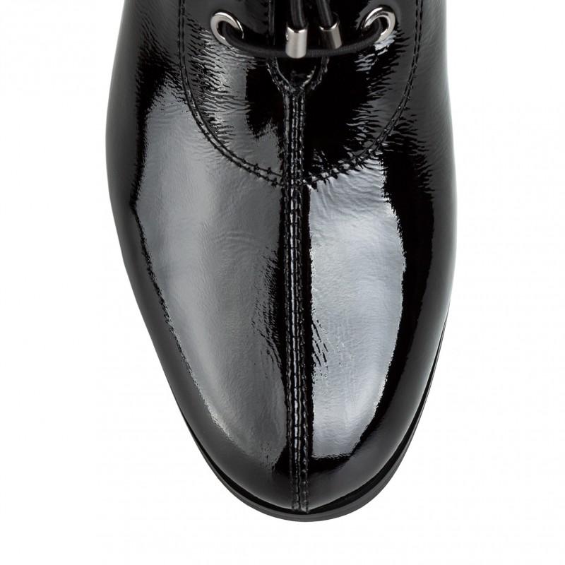Ботильйони жіночі лакові чорні на товстому каблуку Vidorcci