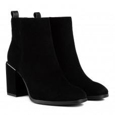 Ботильйони жіночі замшеві чорні на квадратному каблуку Vidorcci