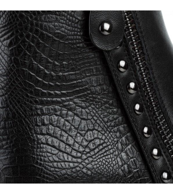 Черевики жіночі шкіряні чорні на квадратному каблуку Vidorcci