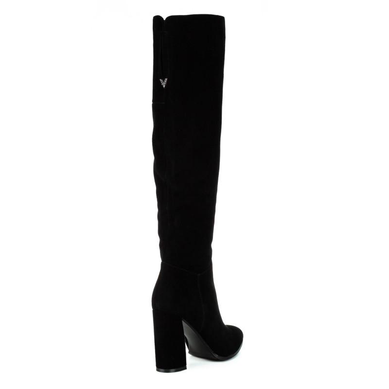 Ботфорти жіночі замшеві чорні на високому каблуку Vidorcci