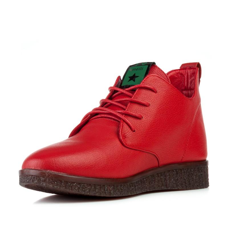Черевики жіночі шкіряні червоні комфортні на шнурівках MEEGOCOMFORT