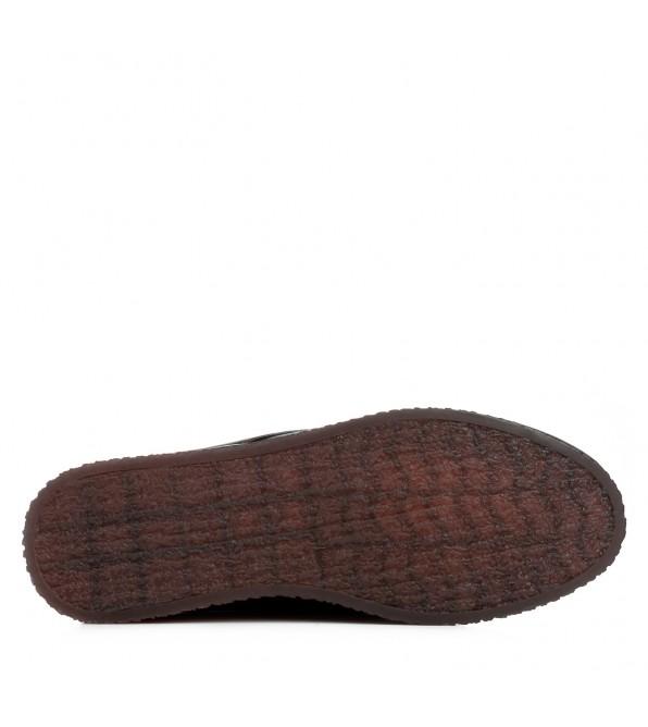 Черевики жіночі шкіряні чорні на низькій танкетці