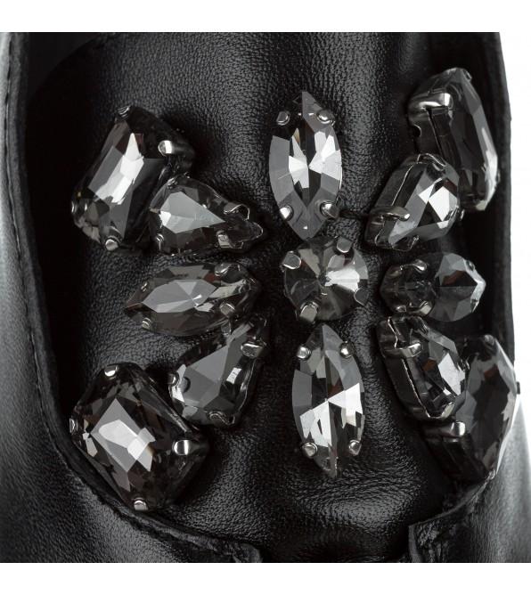 Черевики жіночі шкіряні чорні на низькому каблуці Farinni