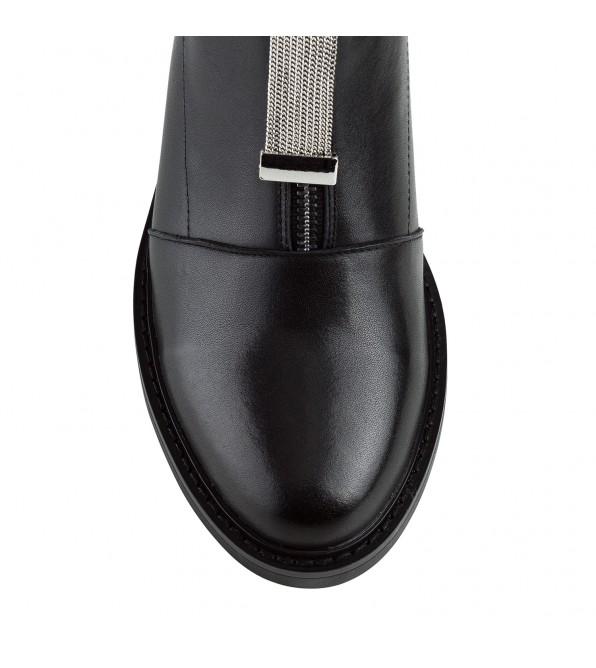 Черевики жіночі шкіряні чорні на низькому каблуку Gelsomino