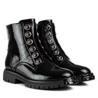Ботинки женские лаковые черные на низком каблуке Brocoli
