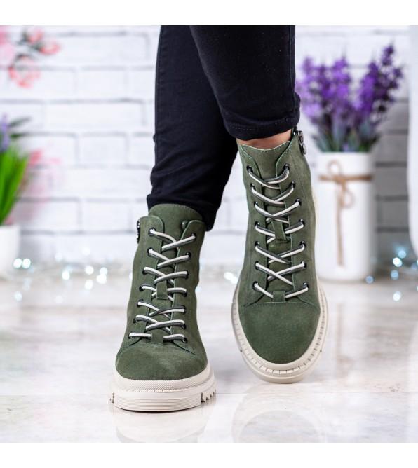 Черевики жіночі замшеві стильні зелені Anemone