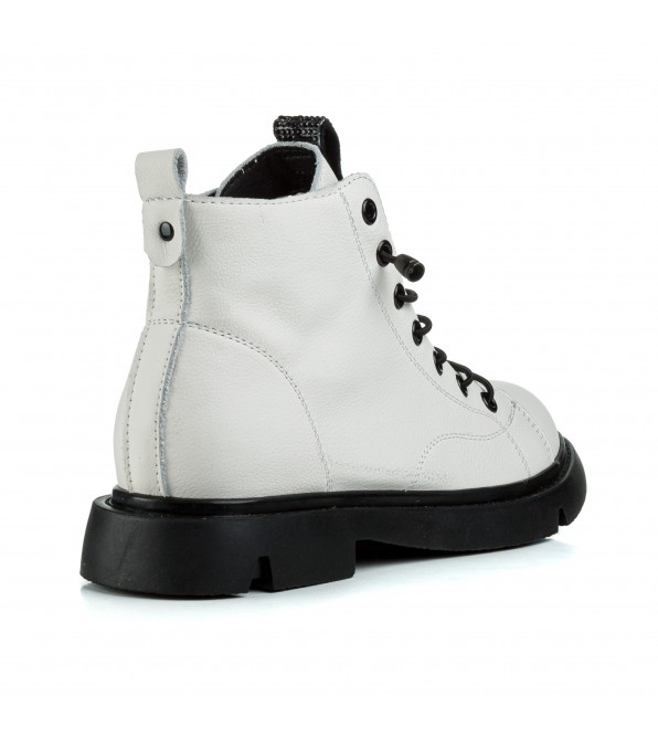 Ботинки женские кожаные белые модные Berkonty