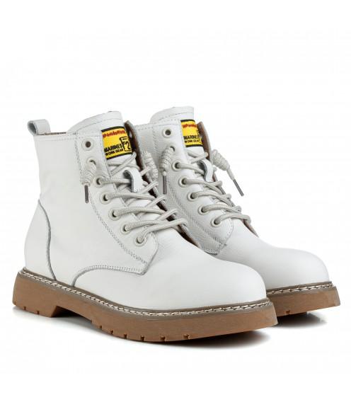 Ботинки женские кожаные спортивные белые Berkonty