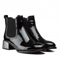 Ботильоны женские лакированные черные на среднем каблуке Farinni