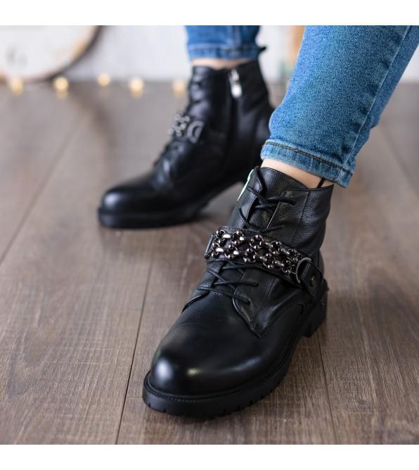 Черевики жіночі шкіряні чорні на шнурівці Farinni