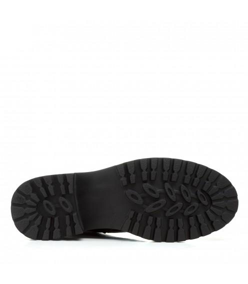 Черевики жіночі шкіряні чорні на низькому ходу Farinni