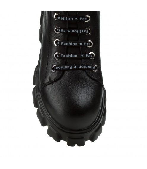 Черевики жіночі шкіряні на шнурівках спортивні на масивній підошві