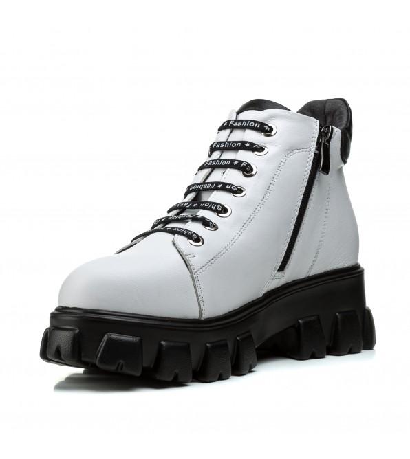 Черевики білі жіночі шкіряні на шнурівках спортивні на масивній підошві