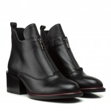 Ботильоны женские кожаные черные на толстом каблуке Farinni