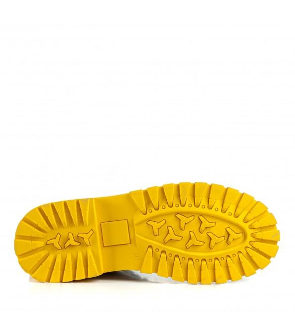 Черевики жіночі зручні білі з жовтою підошвою Farinni