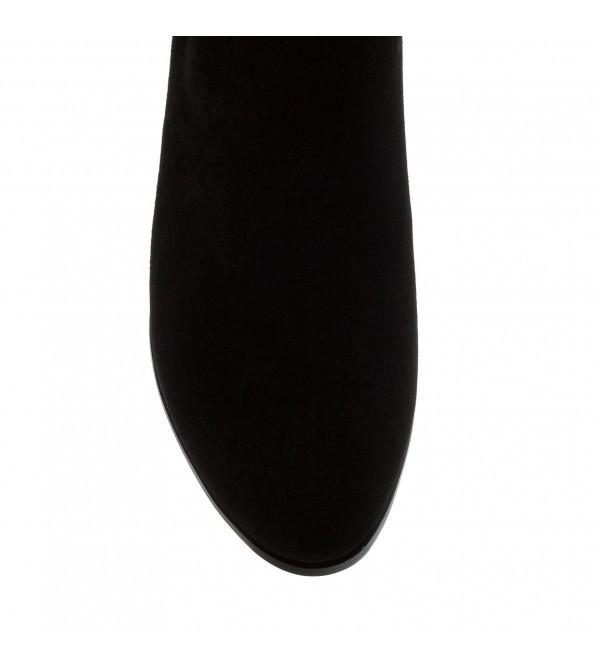 Ботильйони жіночі замшеві декоровані чорними стразами Velly