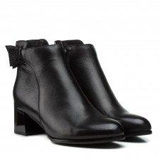 Ботильоны женские кожаные черные на каблуке Velly