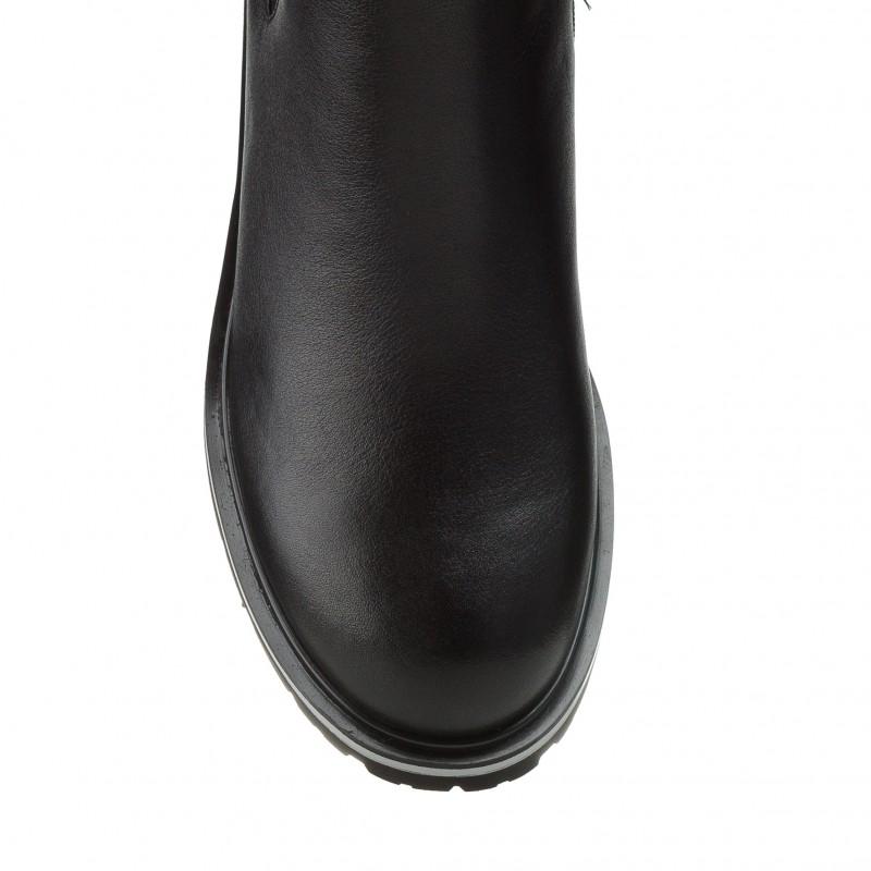 Черевики жіночі шкіряні чорні на низькому ходу Geronea