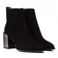 Ботинки женские замшевые черные на широком каблуке Sufinna
