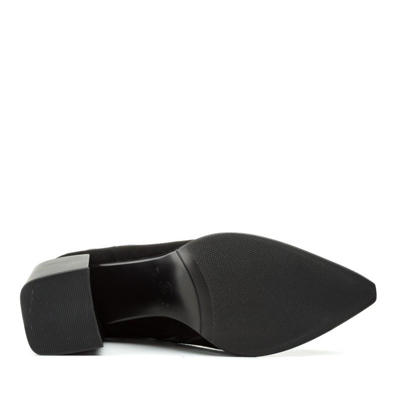 Черевики жіночі замшеві чорні на широкому каблуці Sufinna