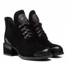 Ботильоны женские замшевые черные на низком каблуке Lady marcia
