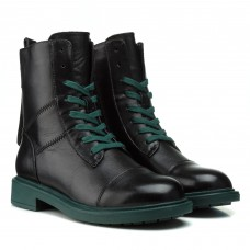 Ботинки женские кожаные черные на шнурках BERKONTY