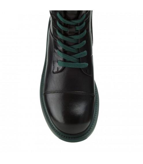 Черевики жіночі шкіряні чорні на шнурках BERKONTY