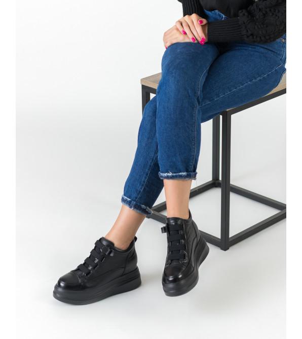 Черевики жіночі шкіряні чорні на платформі BERKONTY