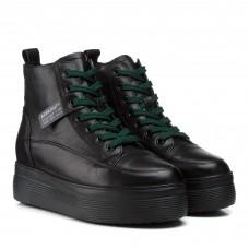 Ботинки женские кожаные черные на платформе Berkonty