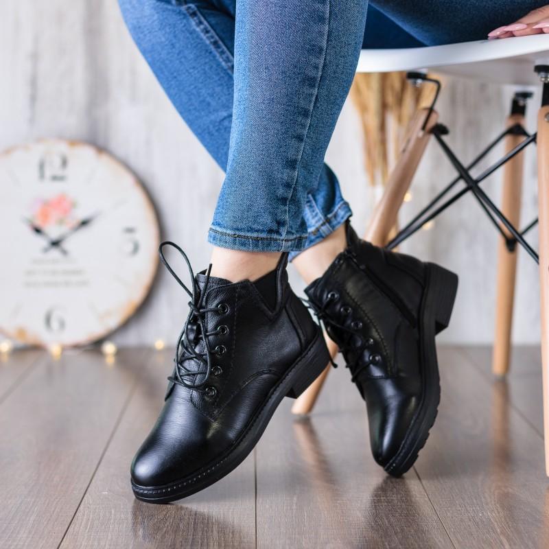 Черевики жіночі чорні демісезонні на шнурівці Farinni