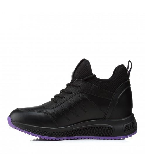 Кросівки жіночі чорні, з фіолетовою вставкою, високі, на скритій танкетці Lifexpert