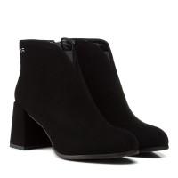Ботильоны женские замшевые черные на толстом каблуке Vidorcci