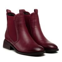 Ботинки кожаные бордовые на широком каблуке My classic