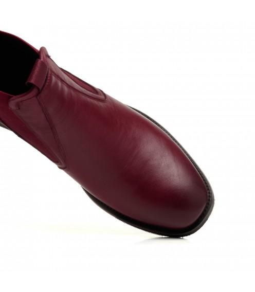 Черевики шкіряні бордові на широкому каблуку My classic
