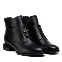 Ботильоны женские кожаные черные на низком каблуке