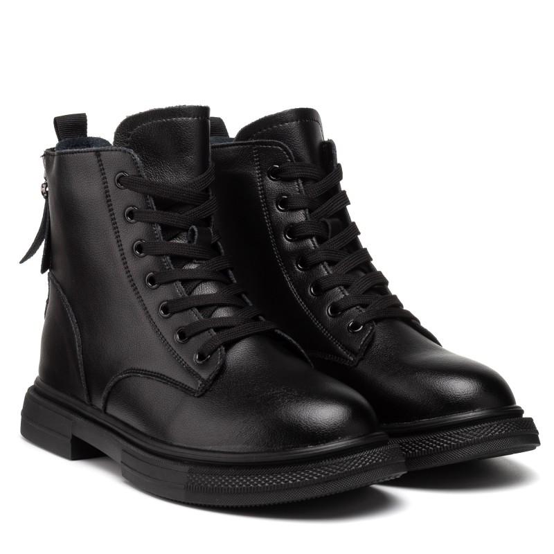 Черевики жіночі чорні на шнурівці V.I.Konty