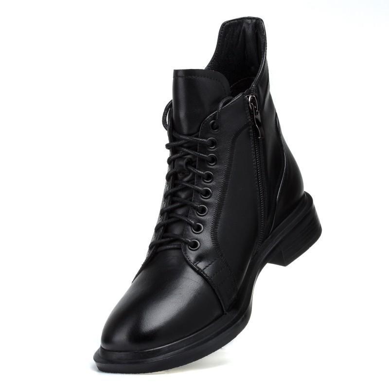 Черевики жіночі шкіряні чорні на шнурівці mossani