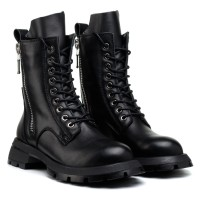 Ботинки женские черные кожаные на низком ходу Farinni