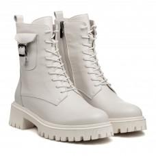 Ботинки кожаные белые демисезонные Farinni