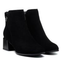 Ботильоны женские замшевые черные на среднем каблуке Velly