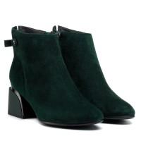 Ботильоны женские замшевые зеленые на толстом каблуке Velly