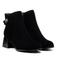 Ботильоны женские черные замшевые та устойчивом каблуке Velly
