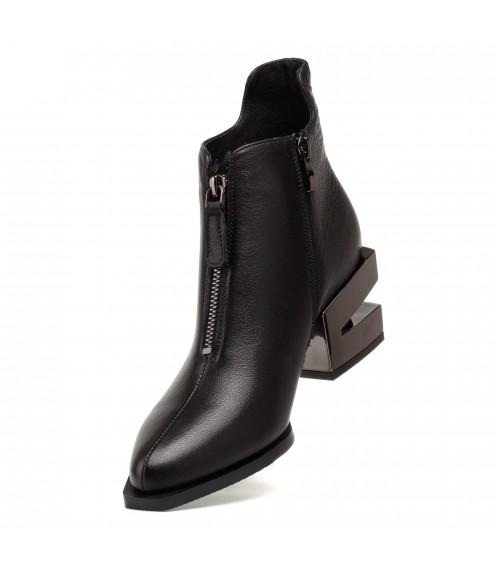 Ботильоны женские кожаные черные на каблуке Lady marcia