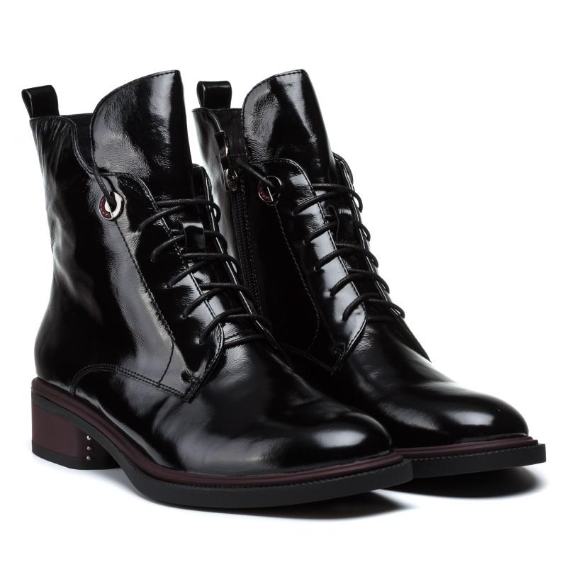 Ботинки женские кожаные лакированные на шнуровке Geronea